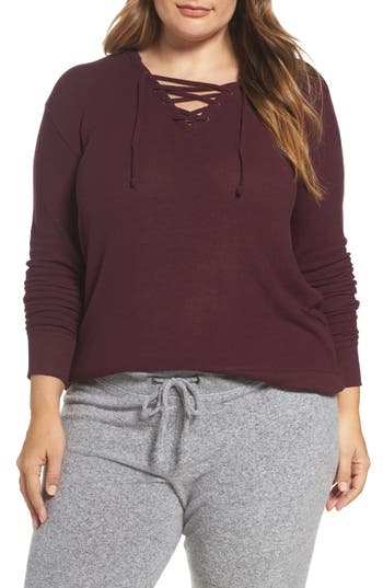 Make + Model Lace-Up Pullover (Plus Size)