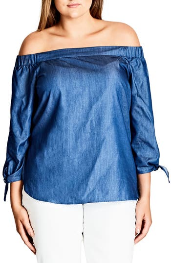 City Chic Denim Flirt Off the Shoulder Top (Plus Size)