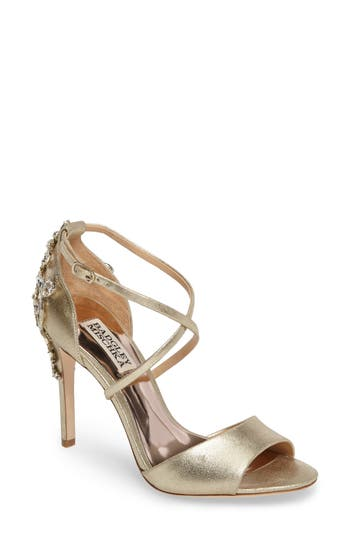 Badgley Mischka Karmen II Embellished Cross Strap Sandal (Women)