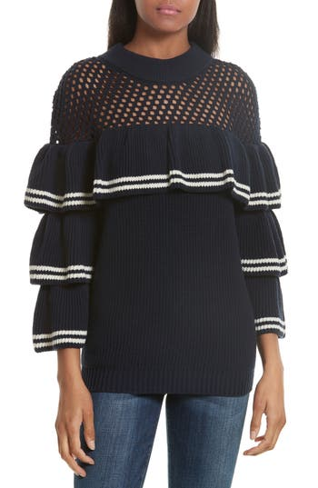 Self-Portrait Stripe Ruffle Wool & Cotton Sweater
