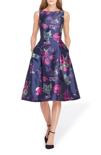 Tahari Floral Jacquard Tea Length Dress