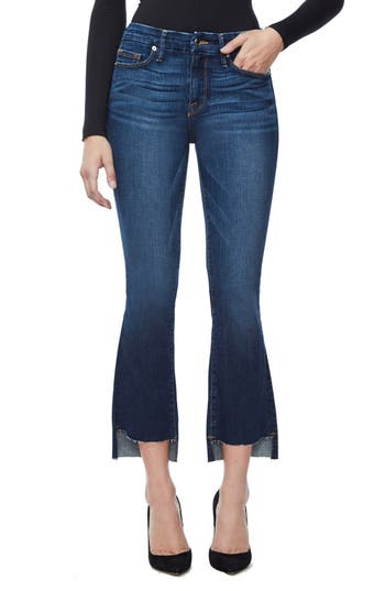 Good American Good Boot Crop Step Hem Bootcut Jeans (Blue 091) (Extended Sizes)