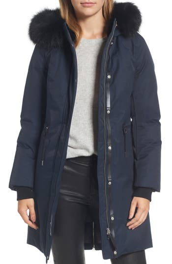 Mackage Down Hooded Anorak with Genuine Fox & Rabbit Fur Trim