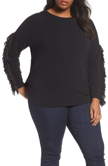 Sejour Mesh Ruffle Sleeve Top (Plus Size)