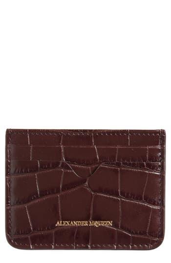 Alexander McQueen Croc Embossed Leather Card Holder