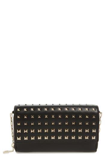VALENTINO GARAVANI Small Rockstud Calfskin Leather Wallet on a Chain