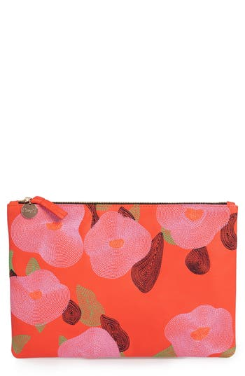 Clare V. Embroidered Poppy Leather Flat Clutch