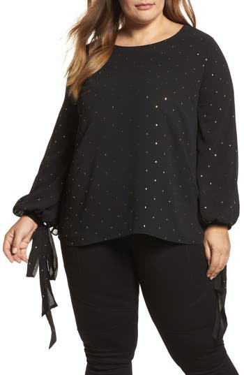 Vince Camuto Gilded Diamonds Tie Cuff Blouse (Plus Size)