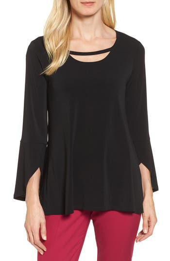 Chaus Bell Sleeve Cutout Neck Top