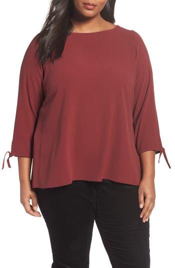 Eileen Fisher Silk Tie Sleeve Blouse (Plus Size)