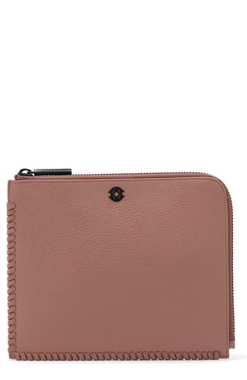 Dagne Dover Large Elle Whipstitch Leather Clutch