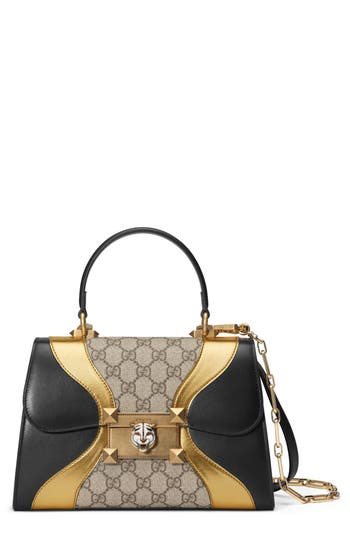 Gucci Small Iside Leather & Canvas Top Handle Satchel