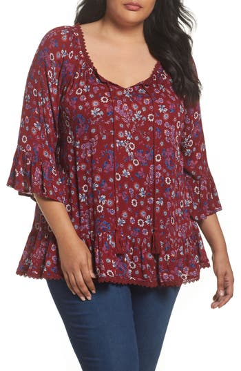 Evans Ruffle Gypsy Blouse (Plus Size)