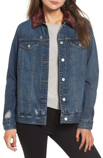 BP. Faux Fur Collar Denim Jacket