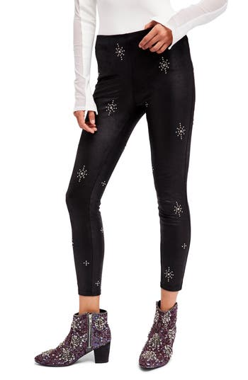 Free People Embellished Faux Leather Skinny Pants
