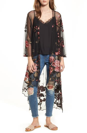Sunset Sheer Embroidered Kimono by Band Of Gypsies