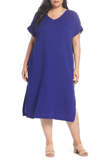 V Neck Cotton Midi Dress by Eileen Fisher