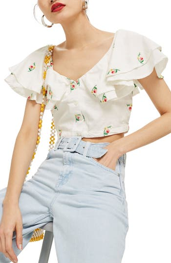 Embroidered Frill Crop Top by Topshop