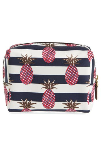 'Brigitte' Nylon Cosmetics Case,                             Alternate thumbnail 2, color,                             Pineapple Stripe