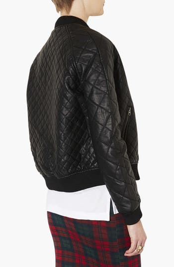 Alternate Image 2  - Topshop Quilted Bomber Jacket