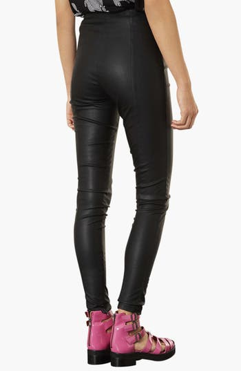 Alternate Image 2  - Topshop Faux Leather Seamed Leggings