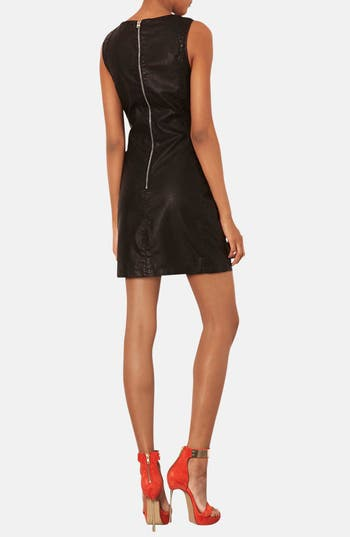 Alternate Image 2  - Topshop Quilted Faux Leather Shift Dress