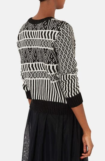 Alternate Image 2  - Topshop Two-Tone Jacquard Sweater