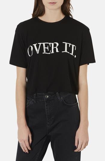 Alternate Image 1 Selected - Topshop 'Over It' Crop Jersey Tee (Petite)