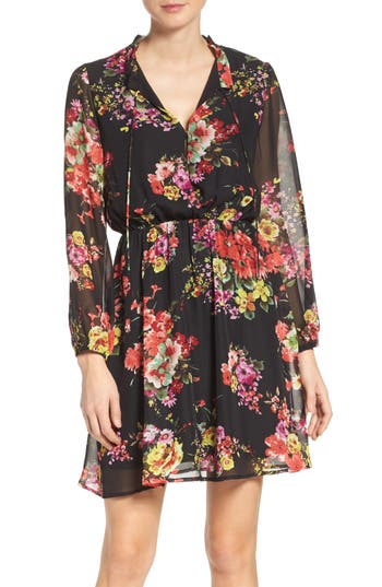 Fraiche by J Floral Chiffon A-Line Dress
