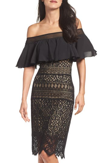 Tadashi Shoji Off the Shoulder Sheath Dress