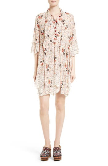 See by Chloé Floral Print Tie Neck Dress