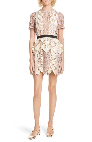 Self-Portrait 3D Floral Lace Peplum Dress