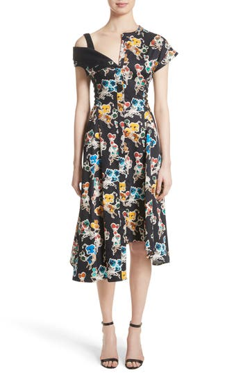 Jason Wu Floral Print Asymmetrical Cotton Dress