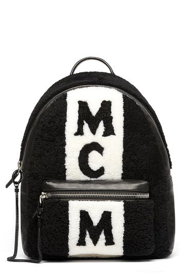 MCM Stark Genuine Shearling Stripe Canvas Backpack