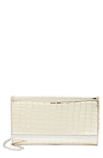 Nordstrom Metallic Croc-Embossed Faux Leather Clutch