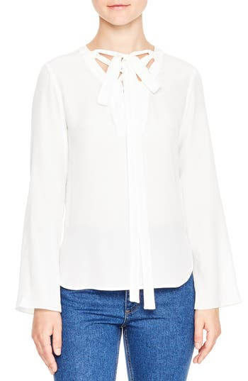 sandro Lace-Up Tie Silk Top