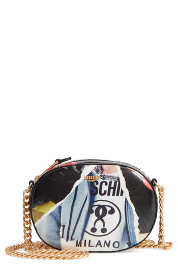 Moschino Editorial Print Coated Canvas Shoulder Bag