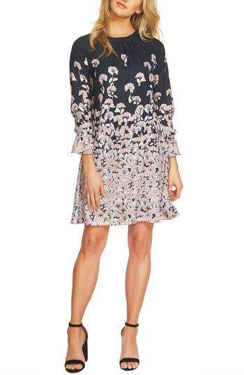 CeCe Wisteria Fields Border Ruched Shift Dress
