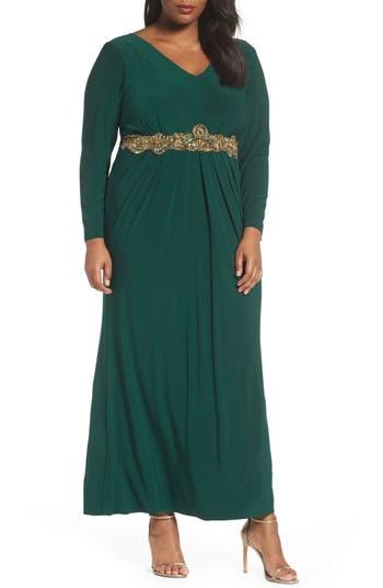 Eliza J Beaded A-Line Gown (Plus Size)