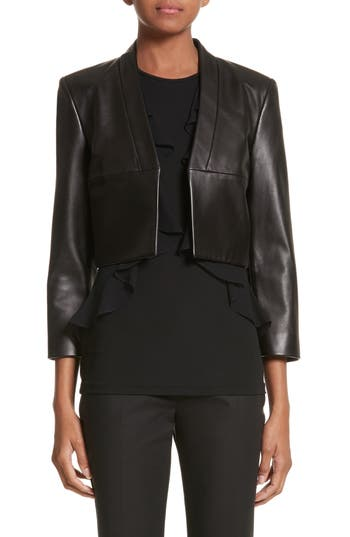 Michael Kors Plongé Leather Bolero Jacket