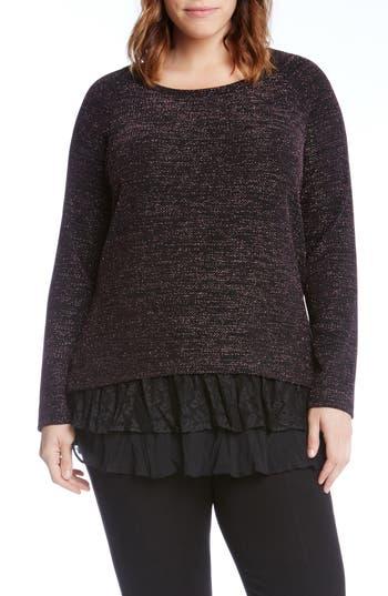 Karen Kane Lace Inset Sparkle Top (Plus Size)