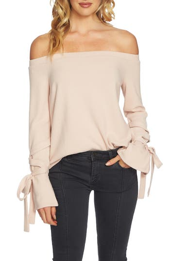 1.STATE The Cozy Tie Sleeve Off the Shoulder Sweater
