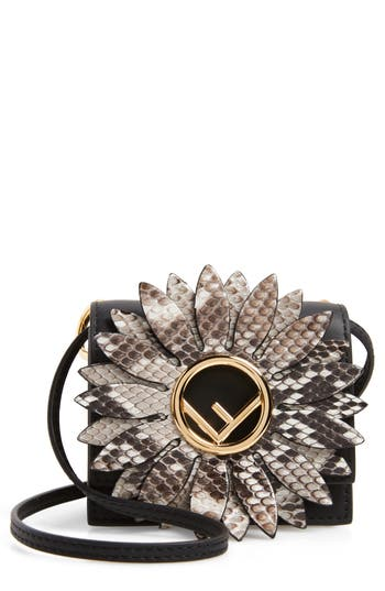 Fendi Mini Kan I Crossbody Bag with Genuine Python Trim