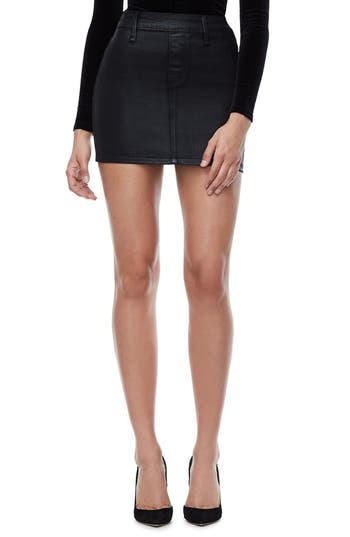Good American The Waxed Denim Miniskirt (Extended Sizes)