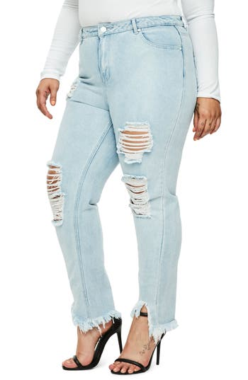 Missguided Ripped High Waist Skinny Jeans (Plus Size)