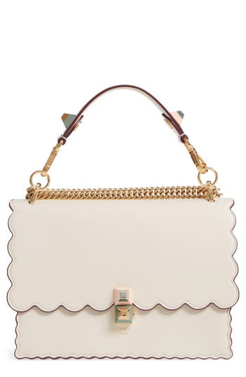 Fendi Kan I Scalloped Leather Top Handle Bag