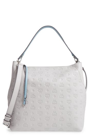 MCM Klara Monogrammed Leather Hobo Bag