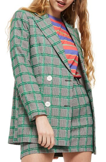 Double Breasted Windowpane Plaid Jacket by Topshop