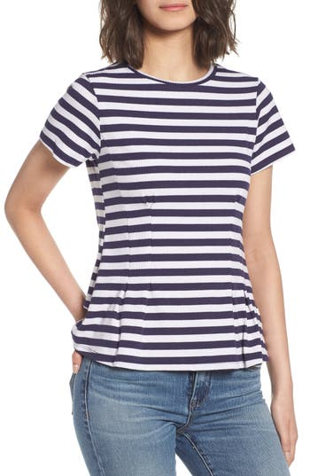 Stripe Peplum Tee by Love, Fire