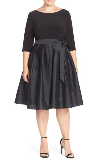 Adrianna Papell Mixed Media Fit & Flare Dress (Plus Size)